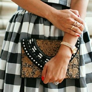 Black and Gold Hand Beaded Clutch